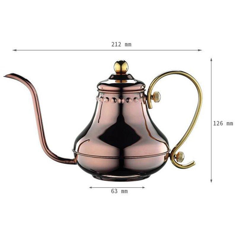 0.42L Mirror Finish Bronzed Color Pour Over Coffee Pot (HA8562)