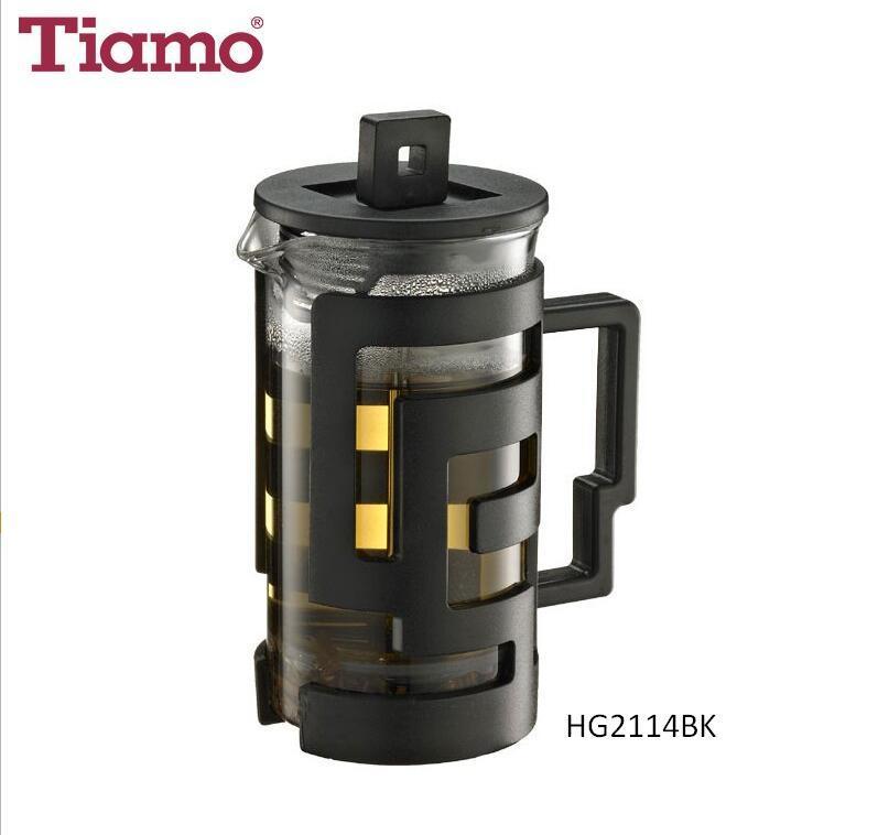 Tiamo Heatproof Glass French Press - Black 300ml (HG2114BK)