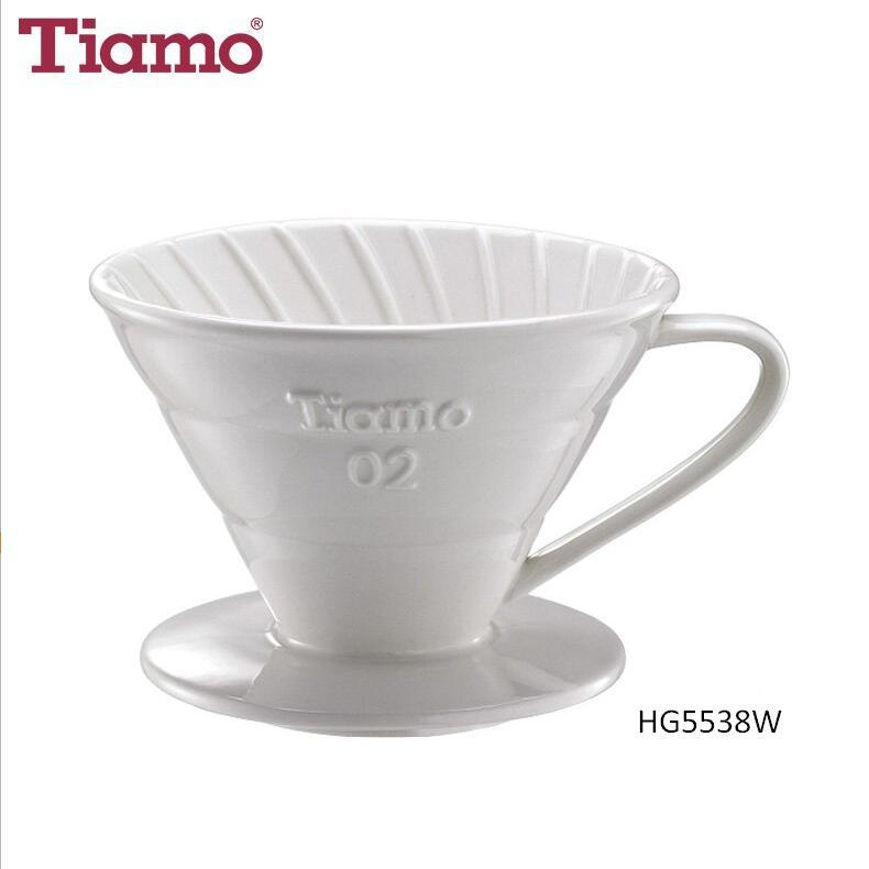 V02 Porcelain Coffee Dripper with Spoon and Filter for 2-4 Cups (HG5538W)