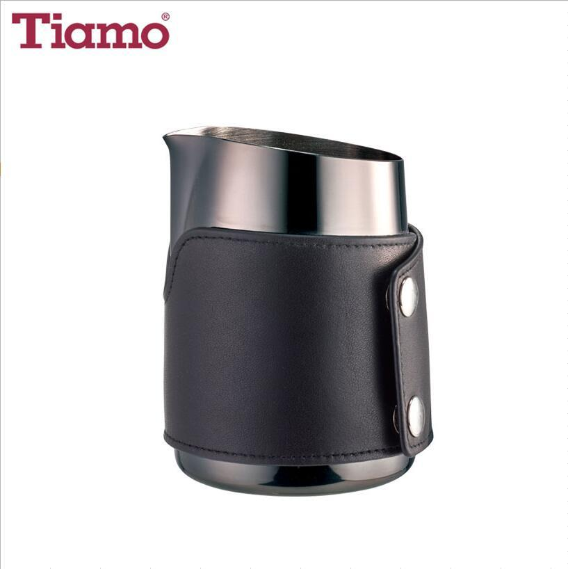 Non-Handle Stainless Steel Milk Pitcher with Leather Case 450ml(Titanium Black)