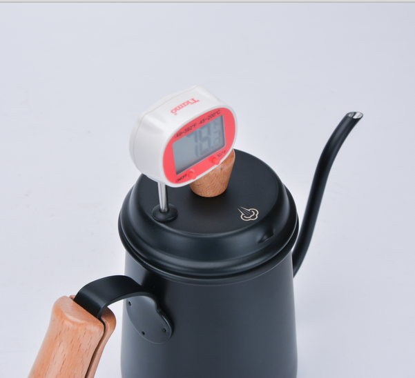 Stainless steel coffee pot w/ wooden handle 0.7L (black) (HA1656BK)