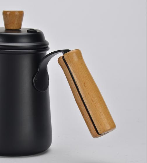 Stainless steel coffee pot w/ wooden handle 0.7L (black) (HA1656BK)